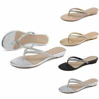 Women Rhinestone Bow Slide Flat Jelly Sandal Flip Flops Thong Open Toe Shoes US