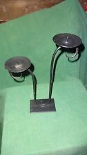Rustic  black iron duo candle holder