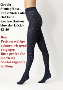 Oroblu Strumpfhose, Pünktchen Color Dot helle Kontrastfarben blue sky L/XL=42-46