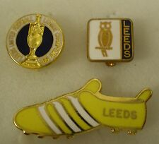 LEEDS UNITED FOOTBALL CLUB 3 x Enamel Pin Badges includes BOOT