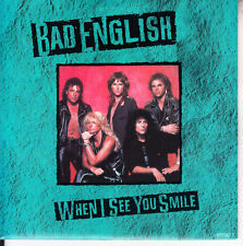 """BAD ENGLISH When I See You Smile PICTURE SLEEVE 7"""" 45 record NEW + jukebox strip"""