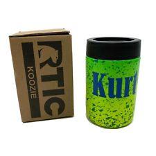 "RTIC Can Koozie 12oz Personalized ""Kurt"" Retro Style Splatter 80s Yellow Green"