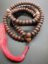 Vintage Natural Bodhi Seed 12mm Conch Shell Tibetan Meditation Prayer Japa Mala