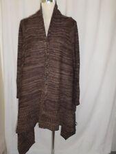 Chunky Knit Waterfall Shawl Cardigan Top Brown Mix Size 12
