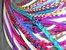 Grizzly Solid Feather Extensions Salon Grade Pink Turquoise Purple Real Lot 20