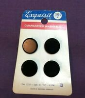 """*Vintage EXQUISIT Button Card Set 4 BLACK GLASS BUTTONS Western Germany 3/4"""""""