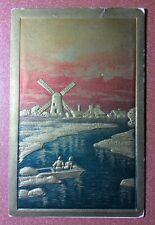 Spectacular golden Antique Art Nouveau Postcard 1907 Water Mill. Boat Purple sky