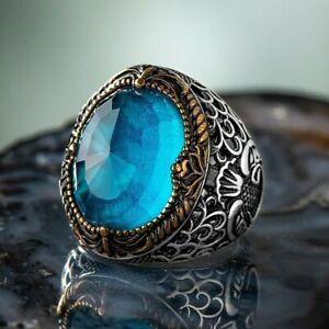 Solid 925 Sterling Silver Vav Design Aquamarine Stone Men's Ring