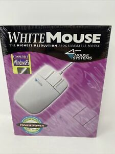 Vintage Mouse Systems White Mouse 3 Button 1995 Windows 95 Compatible NEW NOS