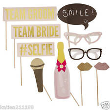 wedding pastel glitter photobooth props on sticks team bride groom fun