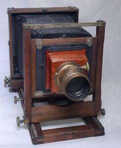 "Antique 4""x5"" Folding Bellows Wooden Film Camera Kleine Optical PARIS SEII Lens"