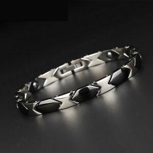 Black Silver Titanium Energy Bracelet Power Magnets Pain Relief for Arthritis