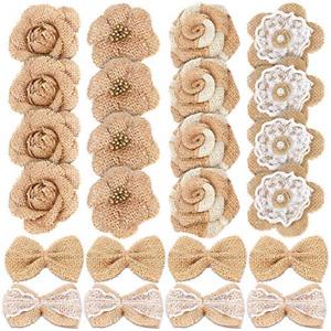 24PCS Handmade Natural Burlap Flowers, Include Burlap Rose Flowers, Burlap Lace