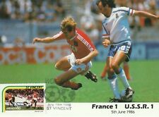 1986 St.Vincent card Football World Cup Mexico-match France-Soviet Union