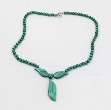 Natural MALACHITE round (5mm) & leaf (11mm(w)x34mm(l)) necklace / bead / strand
