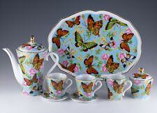 Porcelain 10 Piece Miniature Butterfly Tea Set Teapot Creamer Sugar Cups