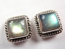 Labradorite Square 925 Sterling Silver Stud Earrings with Rope Style Accents