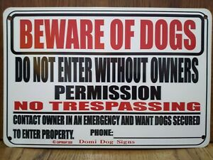 "Metal Warning Dogs Sign For FENCE ,Beware Of Dog 8""x12"" USA Made"
