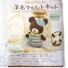 Needle Felting Kit brown white blue Roving Wool DIY Handcraft - Sailor Bear @US