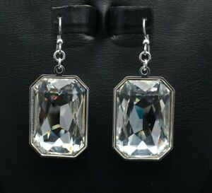 Large 27x18.5mm Emerald-Cut Rectangle Crystal Earrings made with Swarovski
