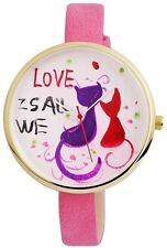 "Damenuhr Weiß Rosa Rot Schwarz Gold ""We love Cats"" Katzen Cat D-60463615241500"