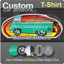 Custom Cartoon Art T-shirt  50-1967 volkswagen VW flatbed Pickup truck T2 Type 2