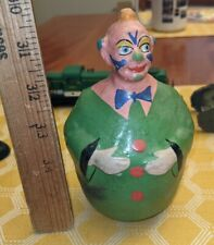 "1930s 8"" Composition Clown Roly Poly Figural Schoenhut ? Colorful"