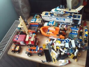 LEGO Job Lot Police Mobile Unit/Helicopter/Cars Coast Guard Truck/Boat Figures +