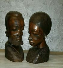 Antique Large Pair Busts African Woman with Man Hand Carved Wooden Statues