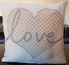 "Love Heart Riva Paoletti Beige Cushion Covers 18x18"""