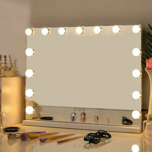 Large Hollywood Vanity Make Up Dressing Table Mirror Dimmable 15 LED Light Bulbs