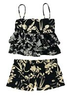 Authentic CHANEL 04P Swimwear Swim Suits Separate Black CC Camellia #40 #38
