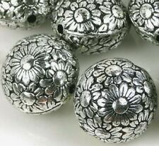 10 Large Antique Silver Metal Plated  Acrylic Flower Flat Round Beads 19mm