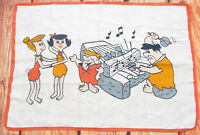 VTG Flintstones Kitchen Towel Linen Hanna Barbera Piano Music Playing Character