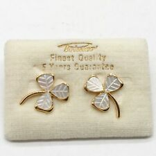 VINTAGE 9CT ROLLED GOLD MOTHER OF PEARL GOOD LUCK 3 LEAF CLOVER LADIES EARRINGS
