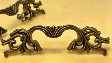 "LOT 2 French Provincial Drawer Handles 6"" Scrolled antiqued Brass Metal CANADA"