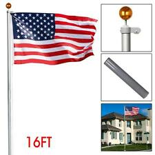 16FT Sectional Aluminum Flagpole Free 3'x5' Flag Pole Set 2 Flags Gold Ball Kit