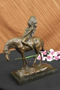RARE VINTAGE ARMOR BRONZE NATIVE AMERICAN INDIAN WARRIOR RIDING HORSE FIGURINE