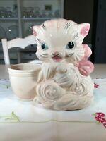 Vintage Hull Pottery Pink Cat/Kitten Planter Mid Century Modern