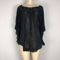 Denim & Supply Long Sleeve Off the Shoulder Lace Blouse Size XL Pre-Owned