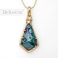 Unique Custom 14kt Yellow Gold Azurite Azurmalachite Diamond Pendant Neckpiece