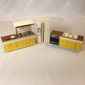 Vintage TOMY Dollhouse Kitchen Set Sink Stove Refrigerator Japan Mid Century