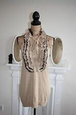 Roberto Cavalli for H&M Gold Beige Metallic Top Sleeveless Ruffle 10 12 Small S
