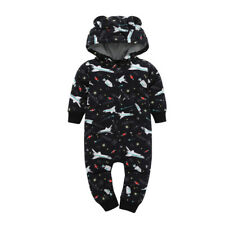 Toddler Baby Infant Jumpsuit Zipper Hood Warm Cartoon Long Sleeve Fleece Romper