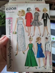 Simplicity Printed Pattern 6208 cut sewing pattern for one size doll barbie 1965