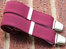 Trousers Braces Burgundy 35mm Wide Elastic Four Heavy Duty Clasps Plain One Size