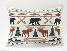 BALSAM FIR PILLOW ADIRONDACK PARADE embroidered sachet scented lodge moose bear