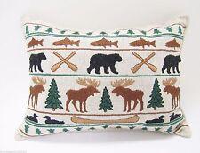 BALSAM FIR PILLOW ADIRONDACK PARADE embroidered sachet scented lodge moose bear
