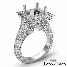 Princess Cut Semi Mount 2.1Ct Diamond Halo Pave Set Engagement Ring Platinum 950