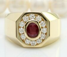 1.65 Carat Natural Red Ruby and Diamonds in 14K Solid Yellow Gold Men's Ring